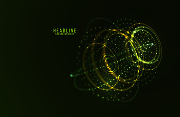 Abstract futuristic HUD 3D object.