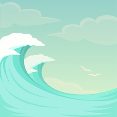 vector illustration of sea waves, ocean wave background, water and summer sky