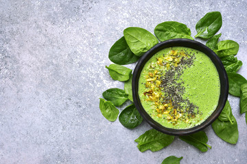 Green smoothie bowl.Top view with copy space.