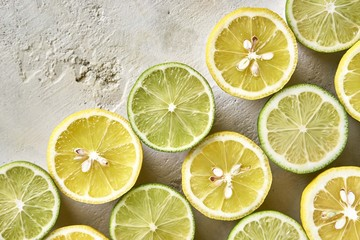 Fresh sliced lemons and limes