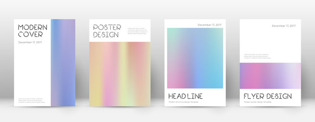 Flyer layout. Minimal alive template for Brochure, Annual Report, Magazine, Poster, Corporate Presentation, Portfolio, Flyer. Artistic pastel hologram cover page.
