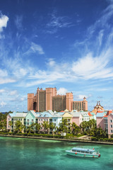 Beautiful scene of colorful houses in Nassau, Bahamas
