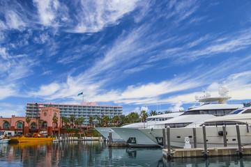 Yachts in a marina in Nassau, Bahamas