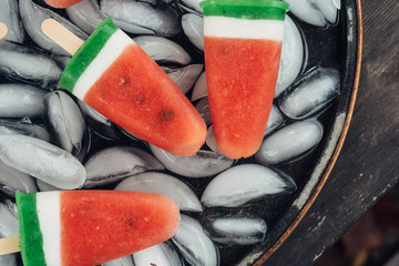 Closeup of watermelon popsicles