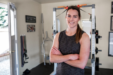 Woman working out in the home gym