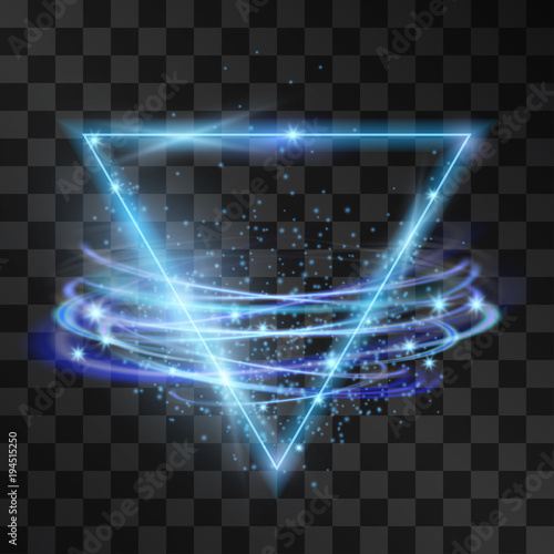 Vector abstract neon blue triangle light effect with swirling winds