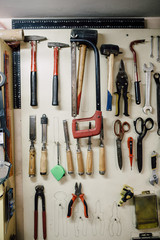 Organized tools at a workshop
