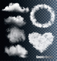 Set of transparent different smoke and cloud. Vector.