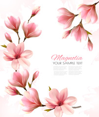Abstract spring background with beautiful magnolia branches. Vector.