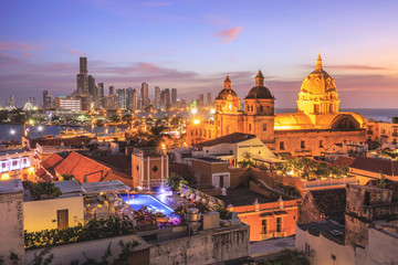 Fototapeten Südamerikanisches Land Night View of Cartagena de Indias, Colombia