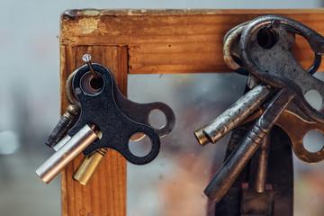 Various clock winding keys