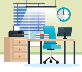 office workplace scene icons vector illustration design