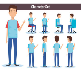 businessmen posing on office chair and stand vector illustration design
