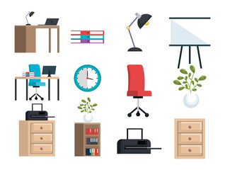office equipment set icons vector illustration design