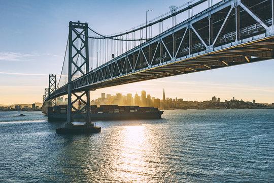 morning Bay bridge at san francisco,california