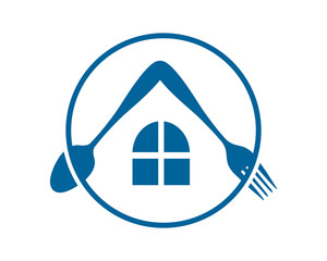 blue cutlery fork spoon house home image vector icon