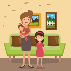 family parents in living room scene vector illustration design
