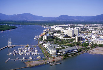 Aluminium Prints Oceania Aerial view of Cairns North Queensland. australia
