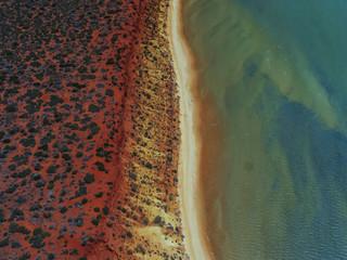 Aerial shot over shark bay Western Australia