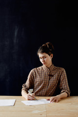 Hand lettering artist in studio