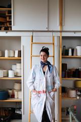 Female Entrepreneur Posing in Her Studio