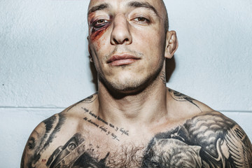injuries, eye bruise, fight, fighter, tattoo, attitude,
