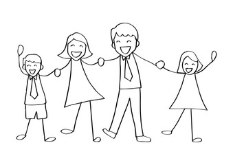 Cartoon of happy family holding hands