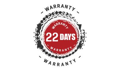 22 days warranty icon vintage rubber stamp guarantee