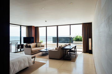 Minimalist Master Bedroom in Upscale Oceanview Penthouse