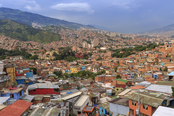 MEDELLIN, COLOMBIA, 08 NOVEMBER 2017: Commune 13, former slum and the most dangerous part of the city, turned into a zone of Contemporary Art, Medellin, Colombia.