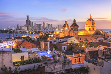 Deurstickers Zuid-Amerika land Night View of Cartagena de Indias, Colombia