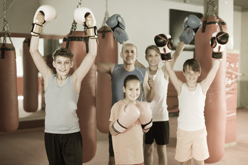 Mixed boxing team of kids