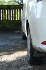 car parking in the yard of the house