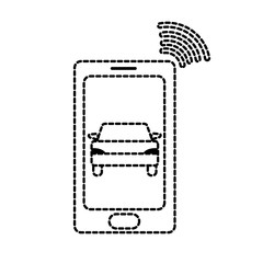 dotted shape smartphone with car transport and used wifi
