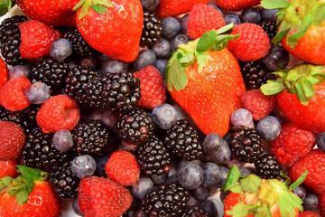 Collage Group of Assorted Berries, Blueberries, Blackberries, Strawberries, Raspberries, Organic Healthy Assorted juicy Fruit