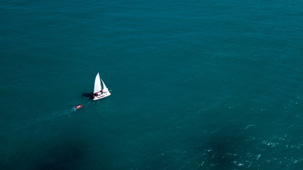 Yacht sailing at the sea space
