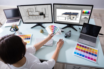 Designer Working On Color Selection For Kitchen And House