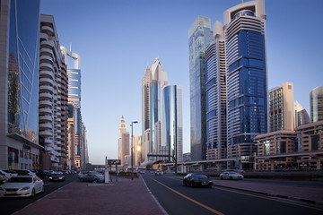 DUBAI, UAE - FEBRUARY 2018: Skyscrapers  in Dubai Downtown, the fastest growing city in the world