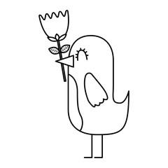 cartoon cute bird with flower rose in beak vector illustration thin line