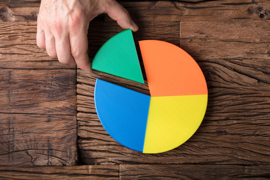 Businessperson Placing A Last Piece Into Pie Chart