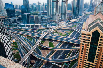 DUBAI, UAE - FEBRUARY 2018: Traffic on a busy intersection on Sheikh Zayed highway
