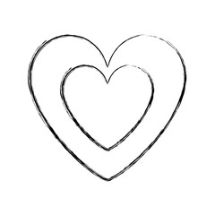 cute heart in love decoration vector illustration sketch image