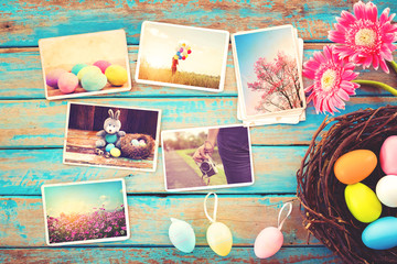Wall Mural - Photo album in remembrance and nostalgia of Happy easter day on wood table  backgroud. Holiday in spring season. vintage and retro style, top view