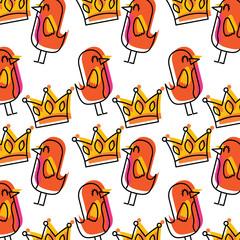 cartoon beauty bird and crown ornament pattern vector illustration
