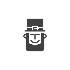 Leprechaun head with hat vector icon. filled flat sign for mobile concept and web design. Happy Saint Patrick's Day simple solid icon. Symbol, logo illustration.