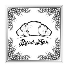 bread fresh croissant vintage frame wheat decoration vector illustration