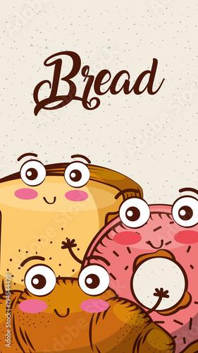 Cartoon Kawaii Bread Fresh Bakery Vertical Banner Vector