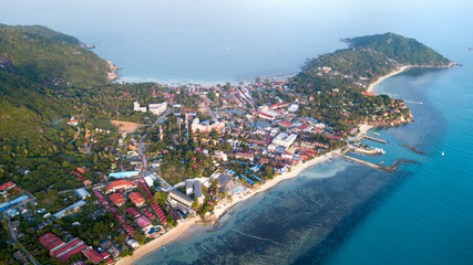 AERIAL: koh Phangan island, Thailand,aerial landscape view from the drone over Baan Tai pier