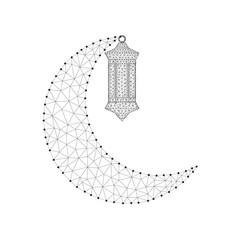 lantern Fanoos polygon crescent black-white