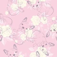 Wall Murals Birds, bees dog. french bulldog. heart sunglasses. glasses icon. illustration seamless pattern wallpaper background